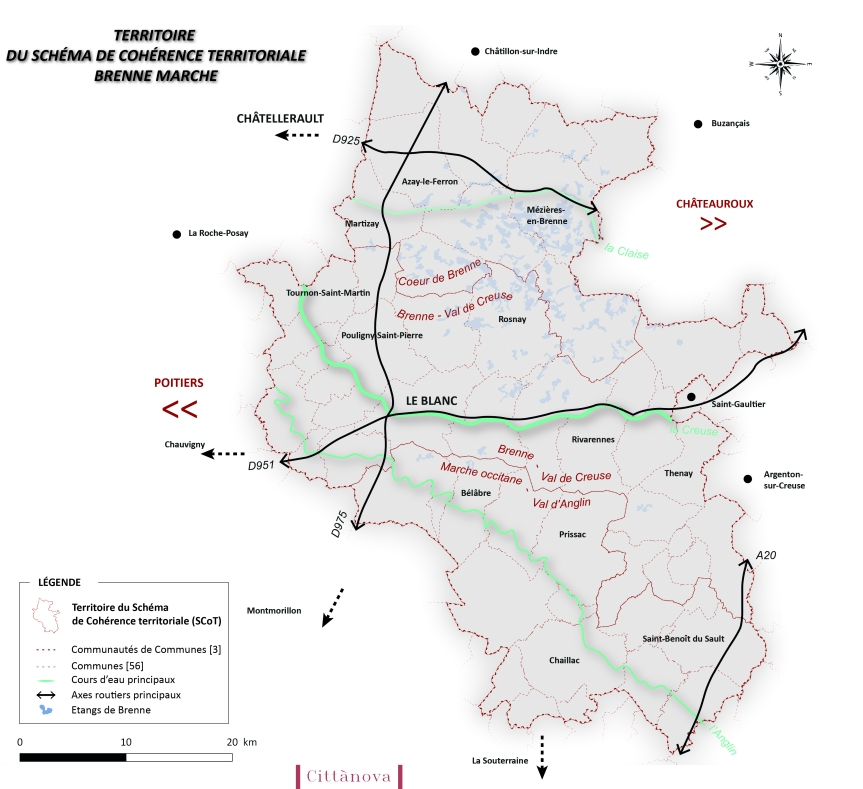 Cartographie territoire du SCoT Brenne Marche